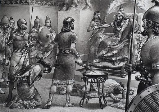 """Blind Him!"", screamed Nebuchadnezzar, pointing to the horrow-striken Zedekia, who knelt in chains befiore him.  Original artwork for illustration on p24 of Look and Learn issue no 727 (20 December 1975)."