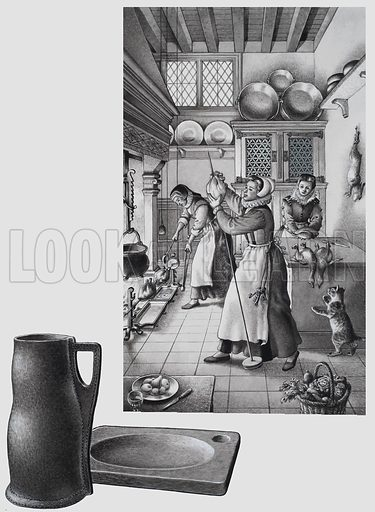 16th Century Kitchen.  Original artwork for illustration on p23 of Look and Learn issue no 708 (9 August 1975).