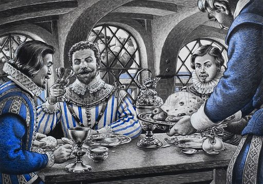 Sir Francis Drake at Table.  Francis Drake dining in the cabin of his flagship, off silver plate imprinted with his coat of arms, while music from the stern gallery served as an aid to digestion.  Original artwork for illustration on p22 of Look and Learn issue no 708 (9 August 1975).