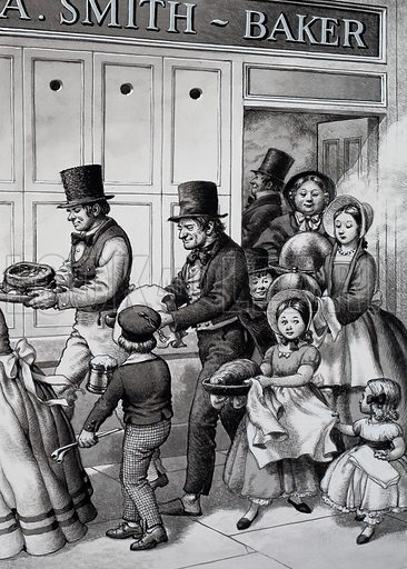 Cooking at the Baker's.  The Industrial Revolution brought many families to the towns.  They missed their big country ovens, so the traditional Sunday dinner for the working classes was cooked in the ovens of the local baker, who collected a few coppers for each dish.  This is a typical Sunday midday scene in one of the larger towns.  Original artwork for illustration on p33 of Look and Learn issue no 712 (6 September 1975).