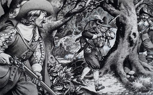 Seventeenth Century Poacher.  This poacher is in for an unpleasant shock, although the ferocious punishments meted out in earlier times had been reduced and a term in prison was the usual sentence.  Original artwork for illustration on p24 of Look and Learn issue no 709 (16 August 1975).
