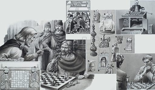 Chess.  Original artwork for illustration in Look and Learn (issue yet to be identified).