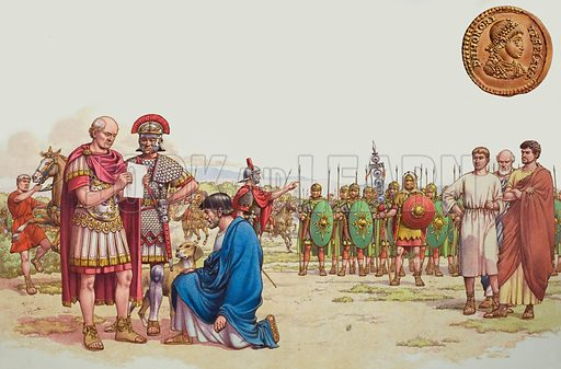 Romano British Appeal to General Aetius.  A plea for help failed to arouse General Aetius's sympathies.  He was far too busy with problems of his own.  The gold coin is that of the feeble Roman emperor Honorius who left the Britons to look after themselves.  Original artwork for Look and Learn issue no 872 (30 September 1978).