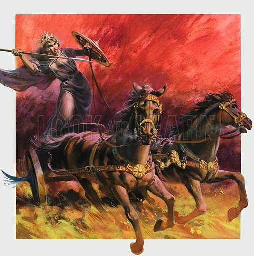 Boudicca, Queen of the Iceni, who led an uprising against Roman rule in Britain in c60. Original artwork for cover of Look and Learn issue no 937 (5 January 1980).