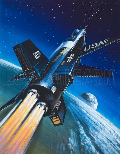 X-15 Rocket Plane. Original artwork for illustration on p23 of Look and Learn issue no 214 (15 February 1966).