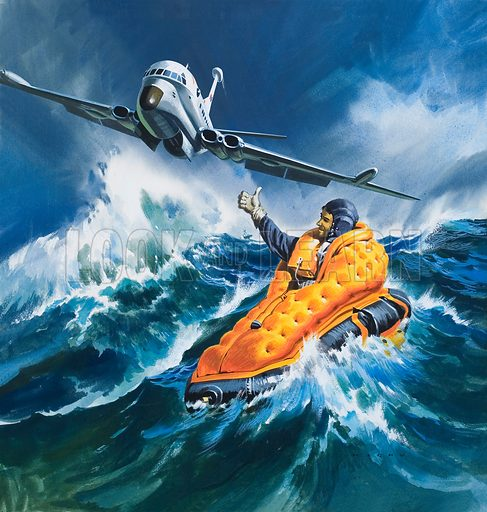 Air Rescue.  Original artwork for illustration in Look and Learn (issue yet to be identified).