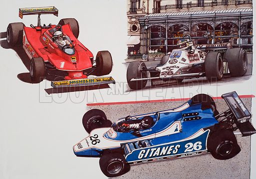 Racing Cars. Original artwork for illustrations on pp76–77 and 78–79 of the The World of Knowledge annual 1982.
