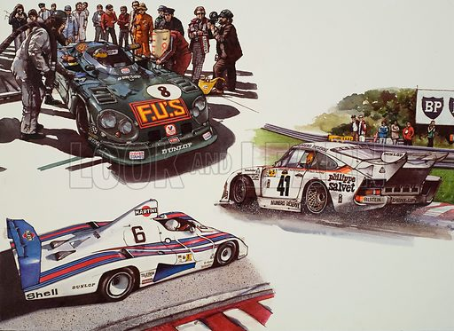 Racing Cars. Original artwork for illustrations on pp73–75 of The World of Knowledge annual 1982.