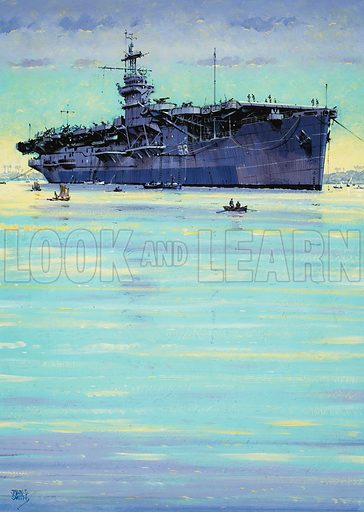 HMS Emperor.  American merchant ships were converted into escort carriers for the Royal Navy in the Second World War.  One of these, HMS Emperor, is seen here in Trincomales, a wartime naval port in Sri Lanka.  Ships here were attached to the eastern feleet, which was engaged in fighting the Japanese.  Original artwork for illustration on p7 of Look and Learn issue no 1024 (24 October 1981).