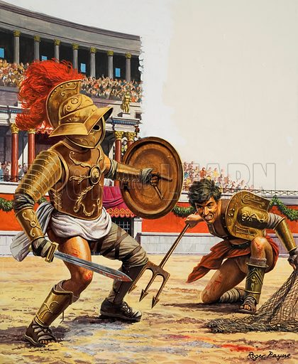 Gladiators fighting in the arena in ancient Rome. In the Roman arena, the crowds roared their approval as gladiators engaged in fierce fights to the death. Original artwork for illustration on p15 of Look and Learn issue no 1009 (11 July 1981).