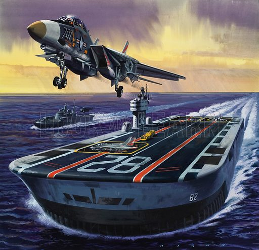 Aircraft Carrier.  Original artwork for illustration in Look and Learn (issue yet to be identified).