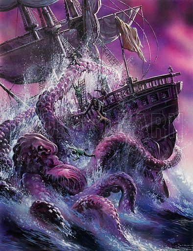 Sailing ship attacked by a sea monster, a giant squid or octopus. For centuries, sailors have told of the kraken, a giant octopus capable of capsizing a ship. Scientists doubt its existence – yet still the fear persists. Original artwork for illustration on p11 of Look and Learn issue no 896 (24 March 1979).