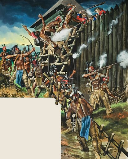 Indian Uprising. In 1763, one of the most dangerous of all Indian uprisings took place, lead by the great Ottawa Pontiac. Fort after fort was taken. Original artwork for illustration on p21 of Look and Learn issue no 471 (23 January 1971).