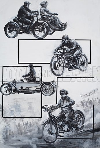 Motor Cyclists.  Original artwork for illustration in Look and Learn (appearance yet to be identified).