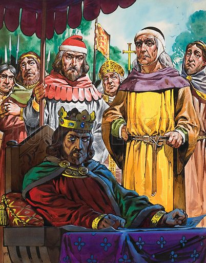 King John relunctantly assenting to the Magna Carta at Runnymede.  Original artwork for illustration on p4 of Look and Learn issue no 290 (5 August 1967).