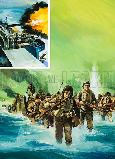 Allied Invasion of Italy, which was supported by massive gunfire from naval units lying offshore (left). Original artwork for illustration on p20 of Look and Learn issue no 659 (31 August 1974).
