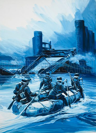 German Invasion of Holland.  When the Germans invaded Holland in May 1940, the Dutch blew up many of their bridges to stop the advancing enemy.  Original artwork for illustration on p19 of Look and Learn issue no 650 (29 June 1974).