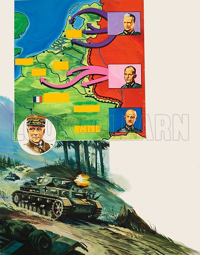 "Battle of the Bulge.  In the secret and shaded valleys of the Ardennes, the Germans wound their way towards the French frontier.  ""The Battle of the Bulge"" has begun.  Original artwork for illustration on p20 of Look and Learn issue no 650 (29 June 1974)."