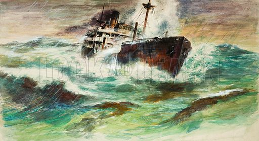 The Langdale. Original artwork for black and white illustration to a story, involving a boat, the Langdale, rolling heavily and scooping great sullen masses of green water aboard that appeared in Ranger on 1 January 1966.