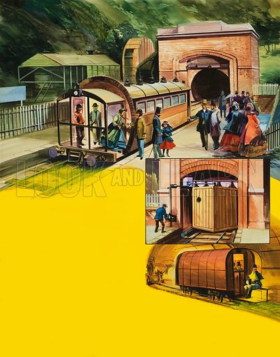 Railway Scene.  Original artwork for illustration in Look and Learn (issue yet to be identified).