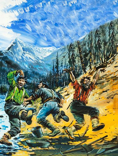 Klondike.  It was here that three men found gold in such quantities that the news of their find drew hordes of adventurers determined to seek wealth amid the rocks of Alaska.