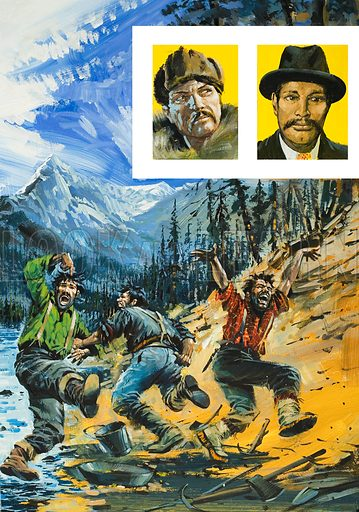Klondike. It was here that three men found gold in such quantities that the news of their find drew hordes of adventurers determined to seek wealth amid the rocks of Alaska. When lumps of gold as big as a thumb turned up in their pan, Geoge Carmack (left) and Shookum Jim (right) and Tagiah Charley have loud whoops of delight … their fortunes were made … they were rich! Original artwork for illustration on p23 of Look and Learn issue no 942 (9 February 1980).