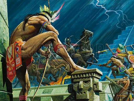 Aztec warriors attacking Hernan Cortes' Spanish Conquistadors in Tenochtitlan after the murder of the Aztec ruler Montezuma, Mexico, 1520. On a dark June night in 1520, Cortes, his hostage Montezuma dead, had to fight his way out of the Aztec capital. Losses were heavy – but within a month he was back to take the city and topple the Aztec empire. Original artwork for illustration on p12 of Look and Learn issue no 849 (22 April 1978).