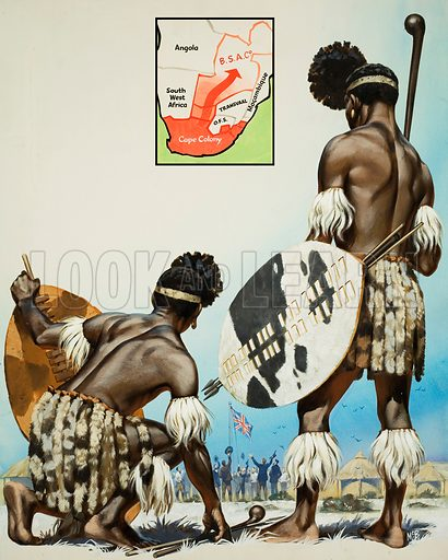 The Story of Africa: The Great Bargain.  Original artwork for illustration in Look and Learn (issue yet to be identified).