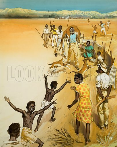 Aborigines.  Original artwork for illustration on p27 of Look and Learn issue no 427 (21 March 1970).