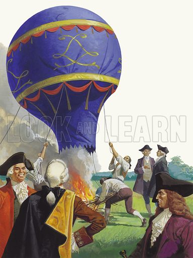 The Balloon Brothers. Our picture shows Joseph and Jacques Montgolfier who were the first to launch an aerial balloon, in 1783 near Lyons in France.