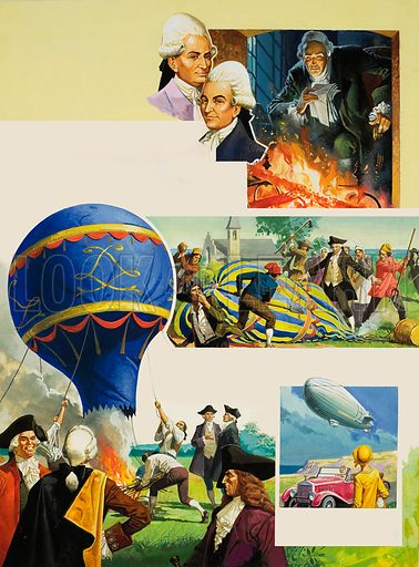 The Balloon Brothers.  Our picture shows Joseph and Jacques Montgolfier who were the first to launch an aerial balloon, in 1783 near Lyons in France.  Original artwork for illustration on p32 of Look and Learn issue no 916 (11 August 1979).