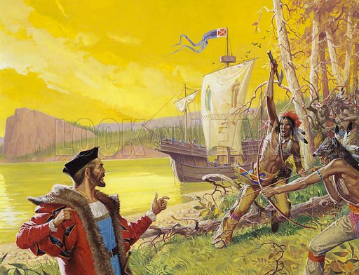 "The River that Didn't Lead to China.  Jacques Cartier (left) sailed up the St Lawrence in a vain attempt to find a route to Cathay - and instead earned himself the title of ""Father of Canada"".  Walking alone on the shore shortly before his departure for France, Cartier found the once-friendly Indians confronting him angrily.  They thought, correctly as it turned out, that Cartier was planning to abduct their chief."