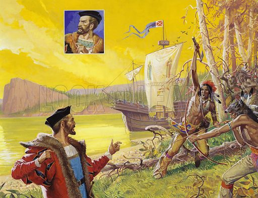 "The River that Didn't Lead to China.  Jacques Cartier (inset) sailed up the St Lawrence in a vain attempt to find a route to Cathay - and instead earned himself the title of ""Father of Canada"".  Walking alone on the shore shortly before his departure for France, Cartier found the once-friendly Indians confronting him angrily.  They thought, correctly as it turned out, that Cartier was planning to abduct their chief.  Original artwork for illustrations on pp8-9 of Look and Learn issue no 865 (12 August 1978)."