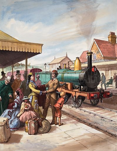 """The Sunday """"train-call"""" – a Theatrical Institution. Nowadays, with only a handful of shows on tour at any given time, it is a shadow of what it was in the late nineteenth and early twentieth centuries. The railways carried hundreds of actors all over the country – previously they had travelled by stage coach or or foot. Original artwork for illustration on p22 of Look and Learn issue no 207 (1 January 1966)."""