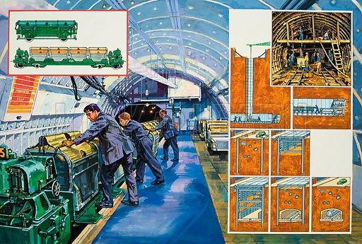 Under-city Airmail.  Mail from the railway stations to the sorting offices, and then onwards to its destinations, speeds beneath the busy streets of London along an underground railway few people ever see. Original artwork for illustration on pp8-9 of Look and Learn issue no 94 (8 March 1980).