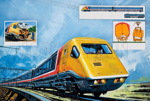 Intercity 125.  Original artwork for illustration in Look and Learn (issue yet to be identified).