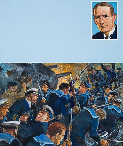 Evans of The Broke. Commander Edward Evans (1881–1957) became well known from having used his ship, The Broke, to ram a German destroyer on the night of 20 April 1917. Original artwork for illustrtion on p2 of Look and Learn issue no 1034 (2 January 1982).
