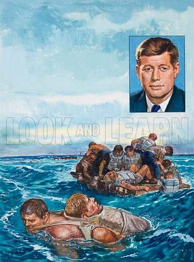 John F Kennedy.  Original artwork for illustration in Look and Learn (issue yet to be identified).