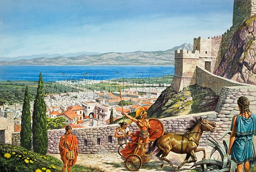 Corinth - Citadel at the Crossroads.  Dominating the narrow land passage between the Peleponnese and mainland Greece, and controlling the crossing of ships over the isthmus, Corinth became rich and powerful.  Original artwork for illustration on pp16-17 of Look and Learn issue no 944 (23 February 1980).