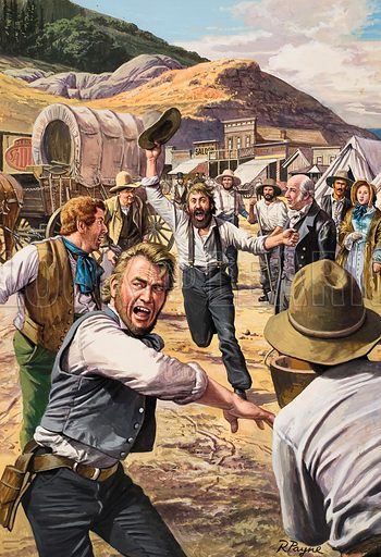 """California Gold Rush.  """"Gold! Gold!"""" ... shouted the excited prospector as he ran through the tiny village of San Francisco.  It was a cry which signalled the beginning of one of the biggest gold rushes of all time.  Original artwork for illustration on  p13 of The Look and Learn Book 1986."""