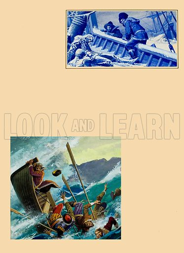 Richard Chancellor, Russian explorer.  So severe was the Arctic winter that, after reaching the Russian coast, the crew of one of the ships were overcome by the cold and perished to a man.  The lower picture shows how, with their boat overturned by a storm, Chancellor was thrown into the tempestuous sea.  Original artwork for illustrations on p10 of Look and Learn issue no 852 (13 May 1978).