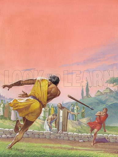 Romulus killing his brother Remus. Enraged by the insulting action of his brother, Romulus hurled a spear at Remus and killed him. Original artwork for illustration on p15 of Look and Learn issue no 1006 (20 January 1981).