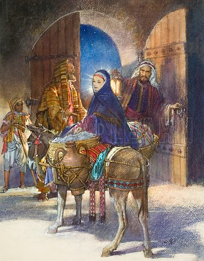 The Innkeeper's Tale.  Mary and Joseph arrive at Bethlehem.  Original artwork for illustration on p5 of Look and Learn issue no 101 (21 December 1963).