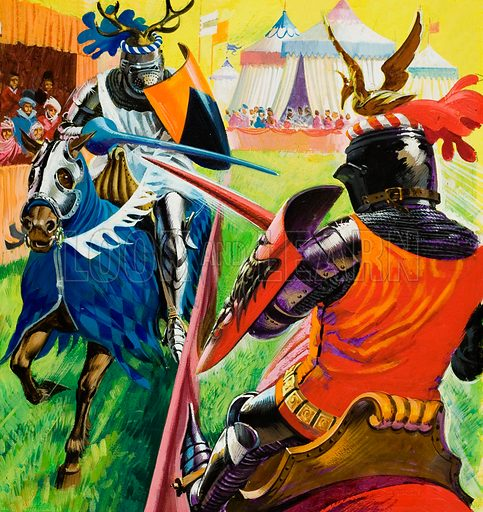 Medieval knights jousting at a tournament. Original artwork for cover of Treasure issue no 408 (7 November 1970).