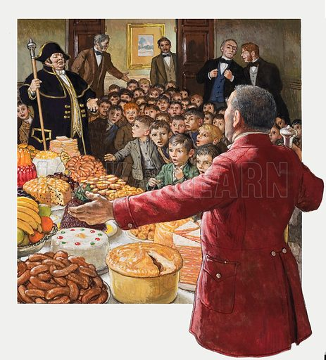 A Feast for the Boy Chimney Sweeps.  A annual part held at the St John's Wood Tavern designed to persuade public opinion that the use of boy chimney sweeps was acceptable. However, in 1875, a few year's after the party's introduction, the use of chimney boys was made illegal.  Original artwork for cover of Look and Learn issue no 863 (29 July 1978).