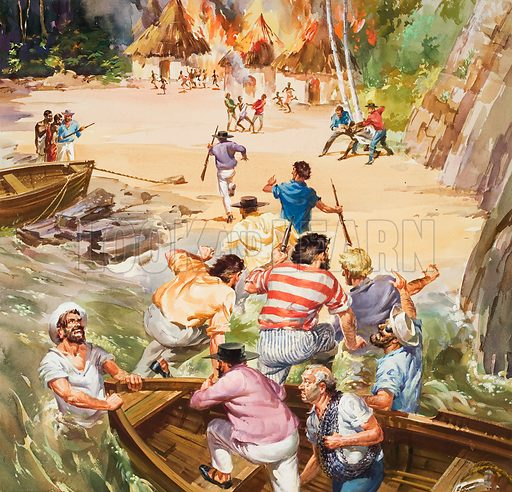 Slave Trade. Raiding parties from slave ships set fire to African villages and captured the men as they fled from the flames. Then the men were chained hand and food and taken on board the ships. Original artwork for cover of Look and Learn issue no 29 (14 August 1962) Also used for illustration (in black and white) on p17 of Look and Learn issue no 614 (20 October 1973).