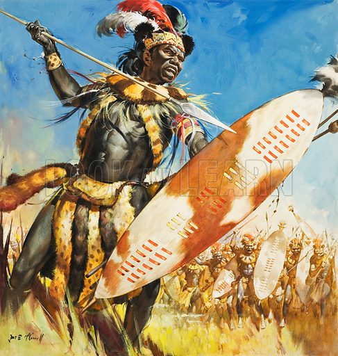 Zulu warriors. Original artwork for cover of Look and Learn issue no 96 (16 November 1963).