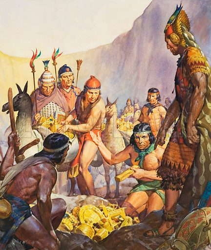 Incas hiding their gold from the Spanish Conquistadors. The Hidden Gold of the Incas, a treasure that legend has it was hidden in the Llanganates Mountains of Ecuador after the murder of the Ibca ruler Atahualpa, but has never been found. Original artwork for cover of Look and Learn issue no 126 (13 June 1964).
