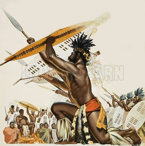 African Warriors.  Original artwork for Look and Learn (issue yet to be identified).