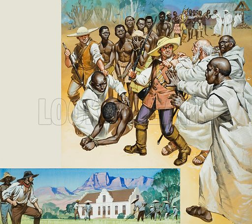 Slavery.  Top: In Angola, Portuguese missionaires and Christian negroes often attempted to prevent the ill-treatment of slaves.  Below: In South Africa, Dutch farmers employed slaves who had been imported from Malaya and the Dutch East Indies where they were cheaper.  Original artwork for illustration on p5 of Look and Learn issue no 334 (8 June 1968).